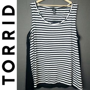 Torrid Striped Twist Neck Sheer Back Tank Top